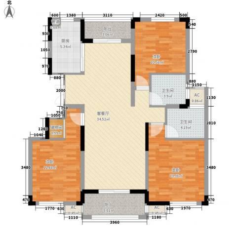 浦发领秀城3室1厅2卫1厨138.00㎡户型图