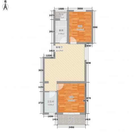 白河涧别墅2室1厅1卫1厨76.00㎡户型图