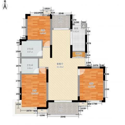 浦发领秀城3室1厅2卫1厨132.00㎡户型图