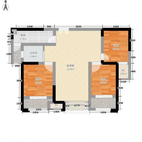 百草苑3室0厅1卫1厨82.00㎡户型图