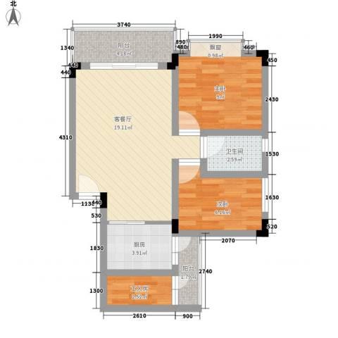 美丽3652室1厅1卫1厨73.00㎡户型图