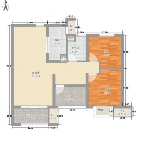 保利中央公园2室1厅1卫1厨95.00㎡户型图