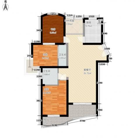 广信百度城3室1厅2卫1厨135.00㎡户型图