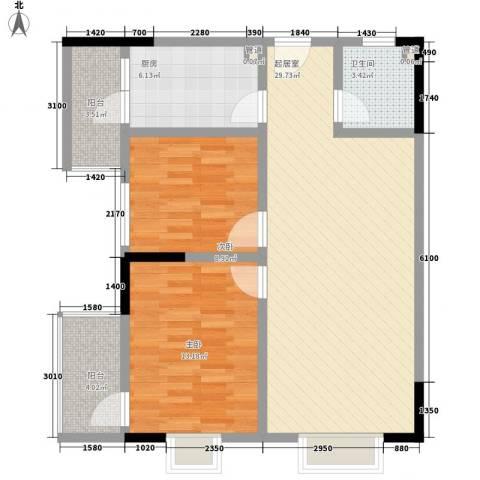东升旭日华庭2室0厅1卫1厨87.00㎡户型图