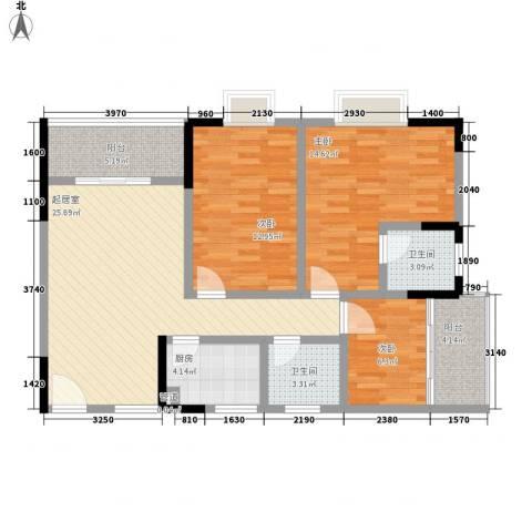 东升旭日华庭3室0厅2卫1厨79.46㎡户型图