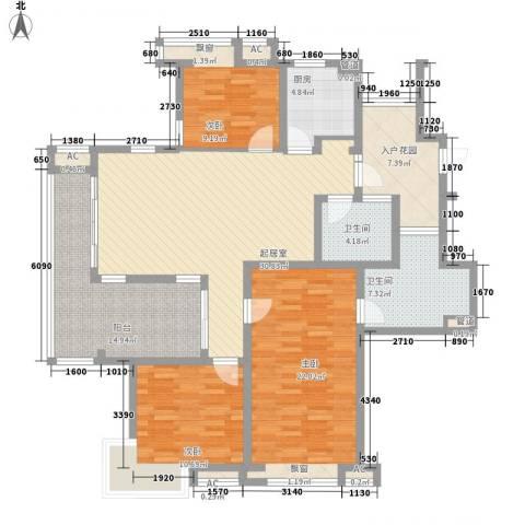 栖霞瑜憬湾3室0厅2卫1厨136.00㎡户型图
