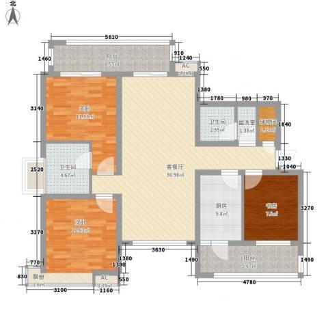 大运盛城四期3室1厅2卫1厨135.00㎡户型图