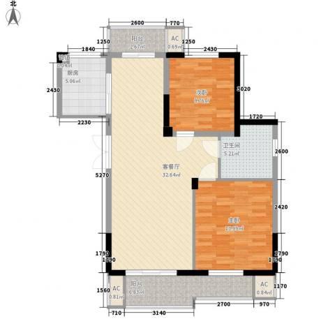 东方华庭2室1厅1卫1厨89.32㎡户型图