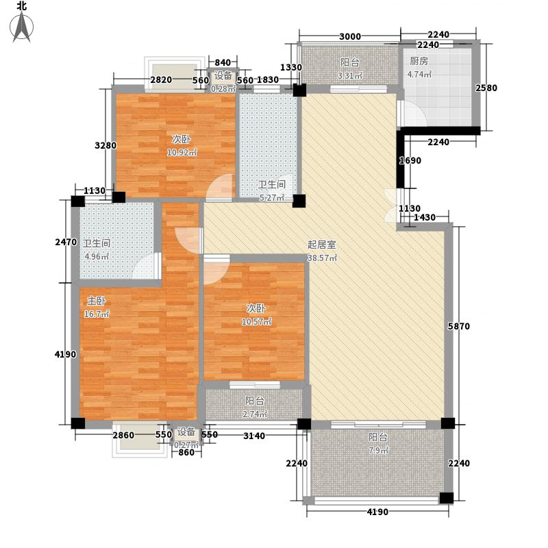 中民阳光城13.00㎡二期9#B2户型3室2厅2卫1厨