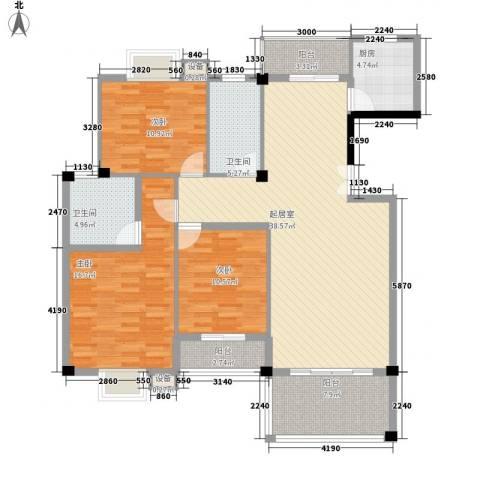 中民阳光城3室0厅2卫1厨106.22㎡户型图