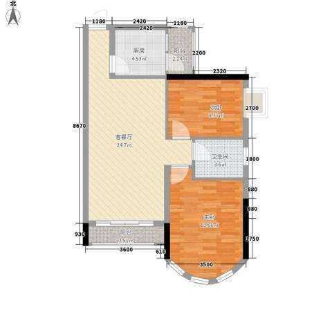 聚富花园2室1厅1卫1厨78.00㎡户型图