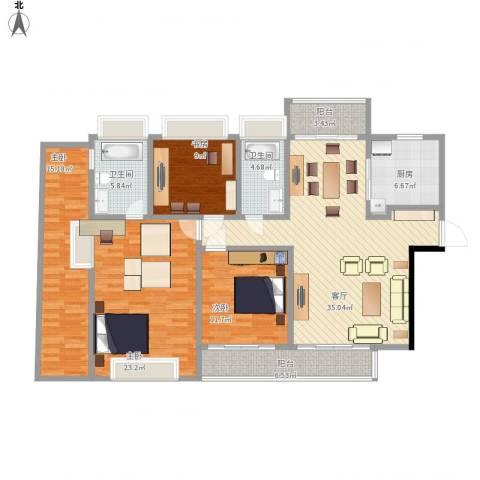 江南大道中128号大院4室1厅2卫1厨171.00㎡户型图