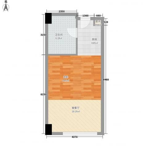 燕莎CLASS1厅1卫0厨50.00㎡户型图
