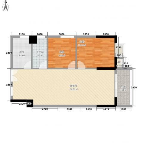 桂林翰林轩2室1厅1卫1厨97.00㎡户型图