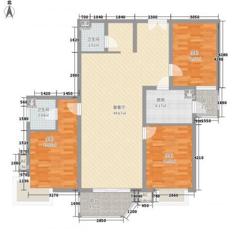 广电小区3室1厅2卫1厨145.00㎡户型图