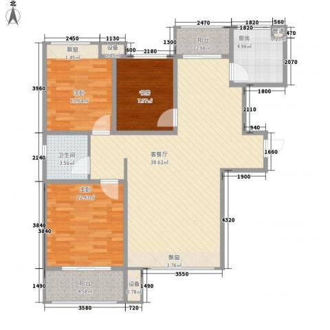中国铁建・明山秀水3室1厅1卫1厨122.00㎡户型图