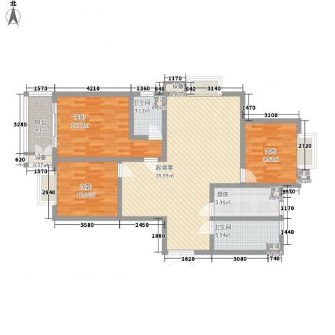 港城蓝天3室0厅2卫1厨104.83㎡户型图