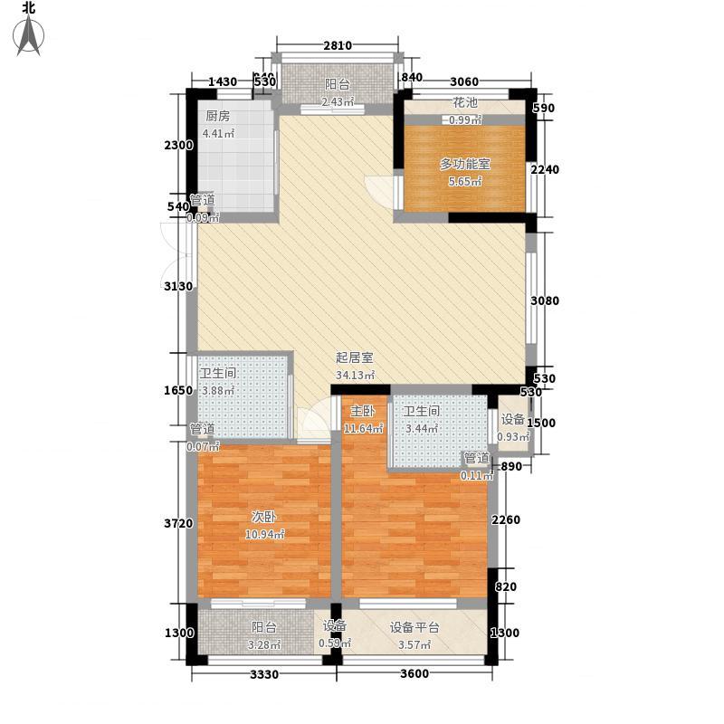江东印象125.60㎡一期2#楼C户型3室2厅2卫1厨