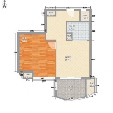 广信百度城1室1厅1卫0厨58.00㎡户型图