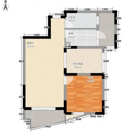 广信百度城1室1厅1卫1厨83.00㎡户型图