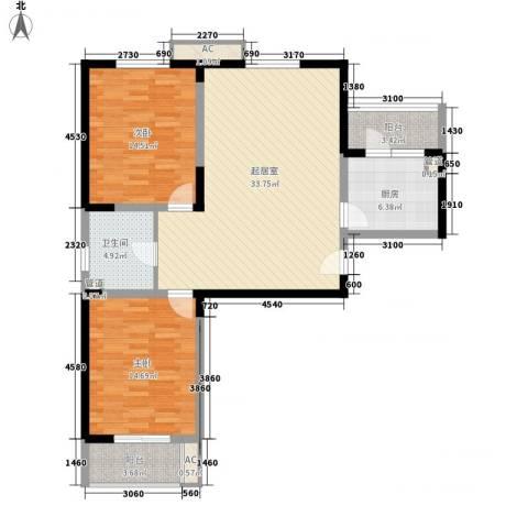 开源馨居2室0厅1卫1厨118.00㎡户型图