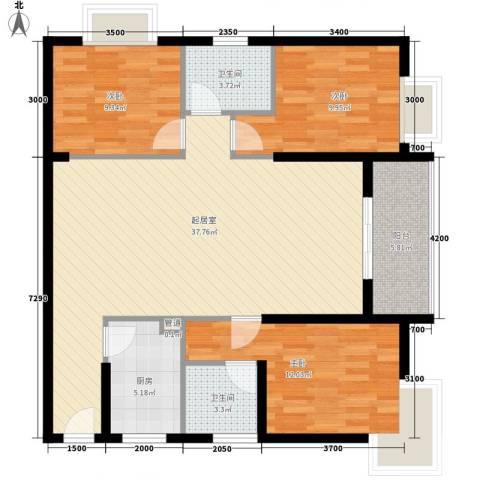 618研究所3室0厅2卫1厨108.00㎡户型图