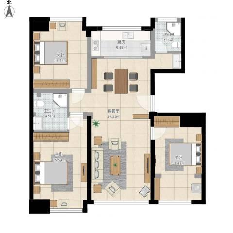 状元府邸3室1厅2卫1厨130.00㎡户型图