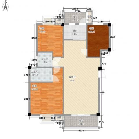 中民阳光城3室1厅2卫1厨116.00㎡户型图