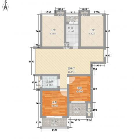 随园锦湖公寓2室1厅1卫1厨95.00㎡户型图