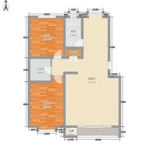 翔宇盛乐新城2室1厅1卫1厨116.00㎡户型图