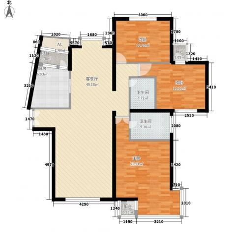 海逸长洲恋海园3室1厅2卫1厨124.80㎡户型图