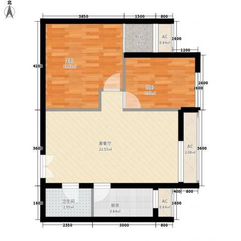 东亚望京中心2室1厅1卫1厨82.00㎡户型图