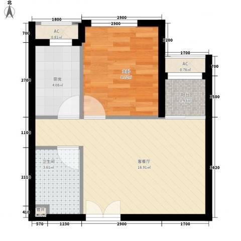 东亚望京中心1室1厅1卫1厨54.00㎡户型图