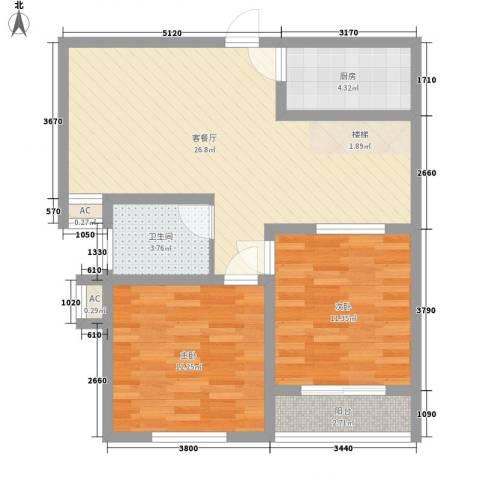 鑫达小区2室1厅1卫1厨90.00㎡户型图
