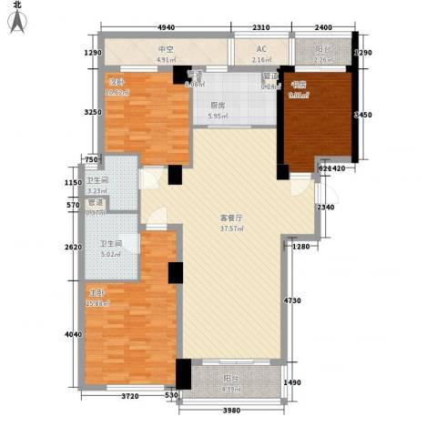 绿城锦绣兰庭3室1厅2卫1厨147.00㎡户型图