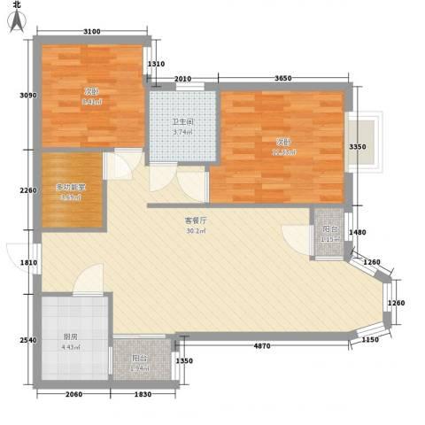 珠江逸景家园2室1厅1卫1厨91.00㎡户型图