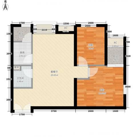 东亚望京中心2室1厅1卫1厨81.00㎡户型图