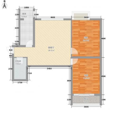 海荣豪佳花园2室1厅1卫1厨107.00㎡户型图