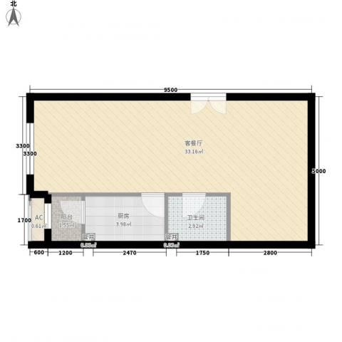 东亚望京中心1厅1卫1厨59.00㎡户型图