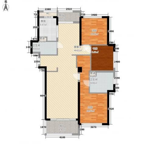 绿城锦绣兰庭3室1厅2卫1厨158.00㎡户型图