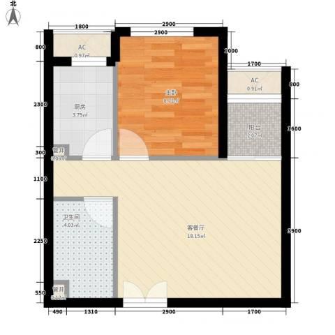 东亚望京中心1室1厅1卫1厨56.00㎡户型图