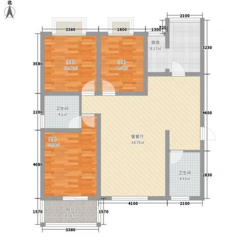 海荣豪佳花园3室1厅2卫1厨132.00㎡户型图