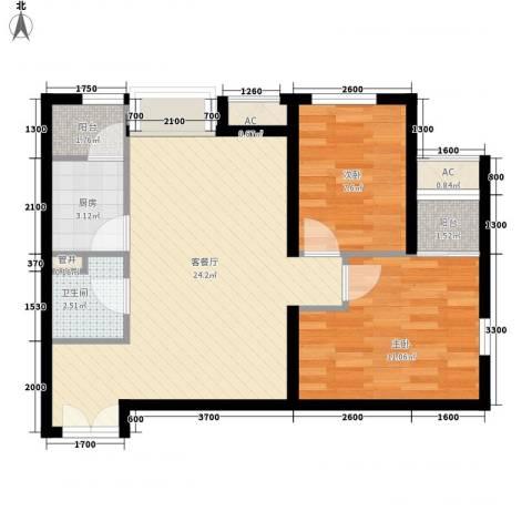东亚望京中心2室1厅1卫1厨77.00㎡户型图