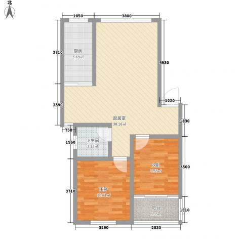 东升旭日华庭2室0厅1卫1厨88.00㎡户型图