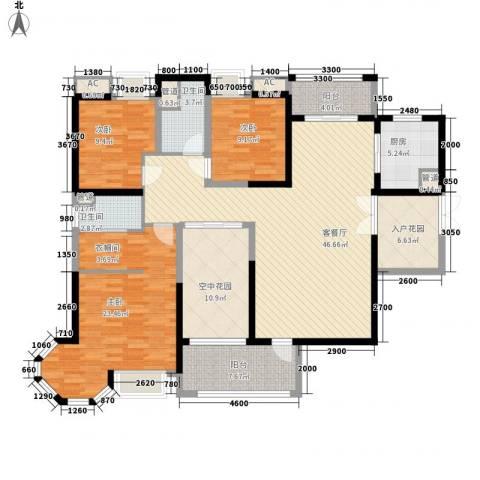 明景・江南世家3室1厅2卫1厨156.00㎡户型图