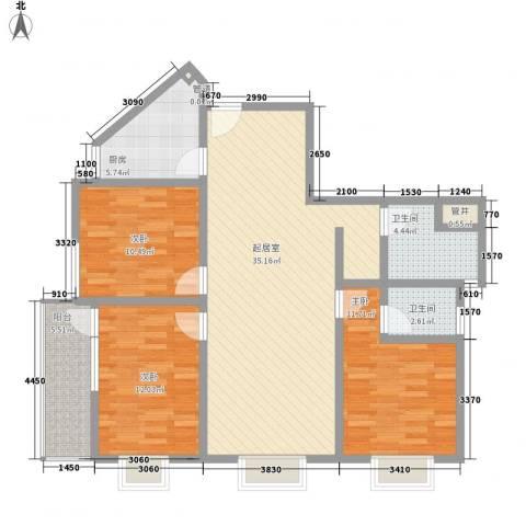 东升旭日华庭3室0厅2卫1厨126.00㎡户型图