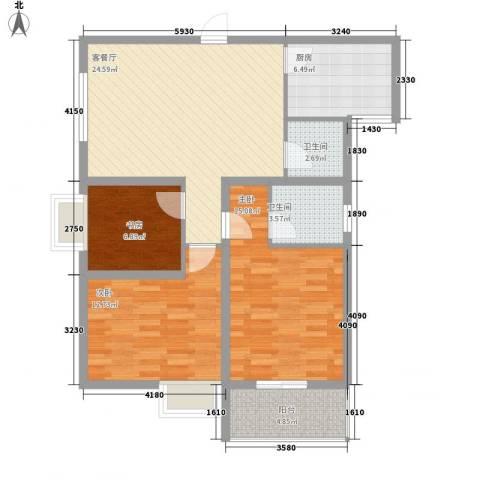 海荣豪佳花园3室1厅2卫1厨113.00㎡户型图