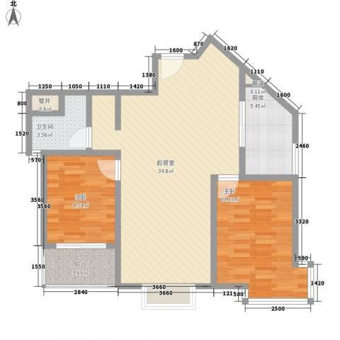 东升旭日华庭2室0厅1卫1厨96.00㎡户型图