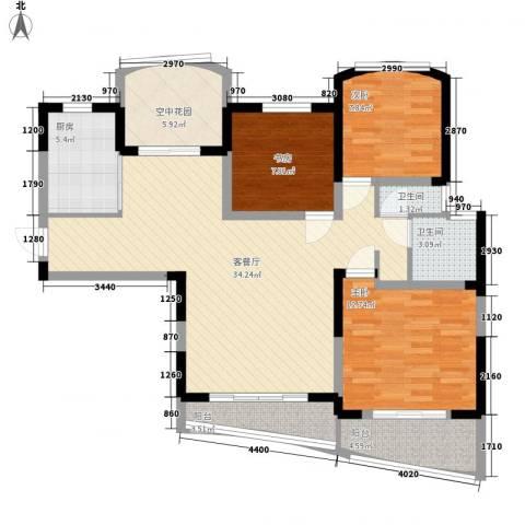 广信百度城3室1厅2卫1厨86.46㎡户型图