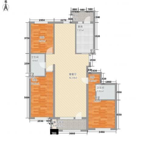 中信御园3室1厅2卫1厨150.00㎡户型图